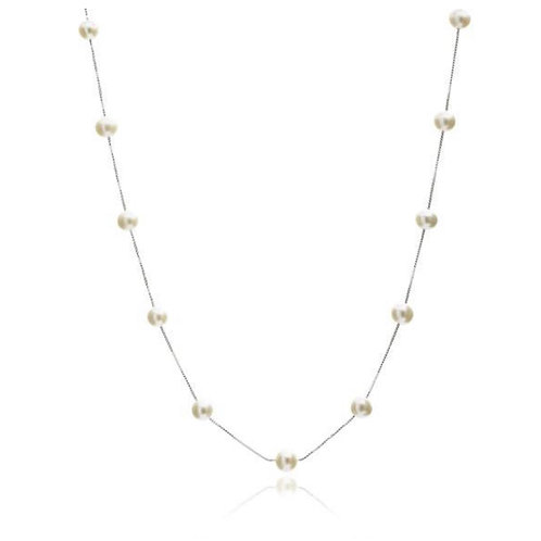 STERLING SILVER CHAIN NECKLACE WITH FRESHWATER PEARLS
