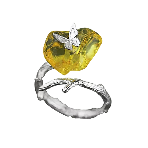 AMBER & SILVER WRAP BUTTERFLY RING