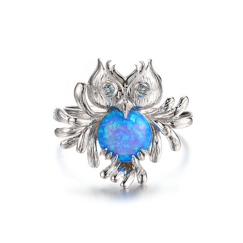 PERRE SILVER OWL RING WITH SYNTHETIC BLUE OPAL & TOPAZ