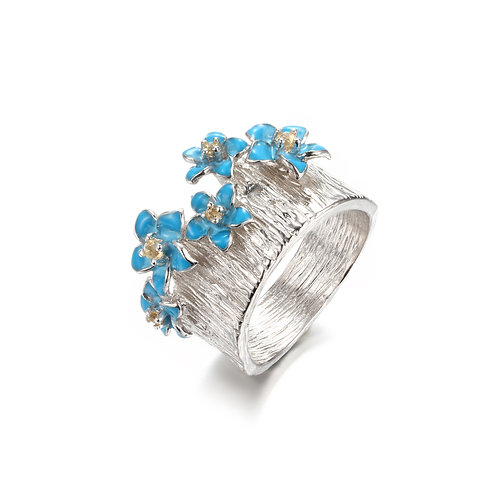FORGET ME NOT IN ENAMEL AND CITRINE RING