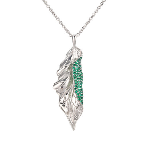 GREEN LEAF STERLING SILVER NECKLACE