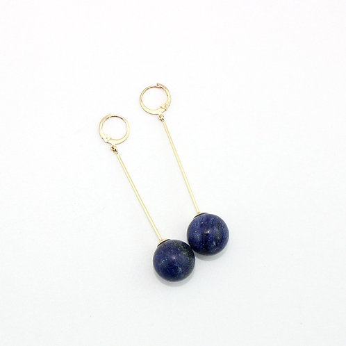 LARGE LAPIS LAZULI BALL EARRINGS