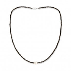 BLACK SPINEL CHOKER NECKLACE WITH WHITE PEARL