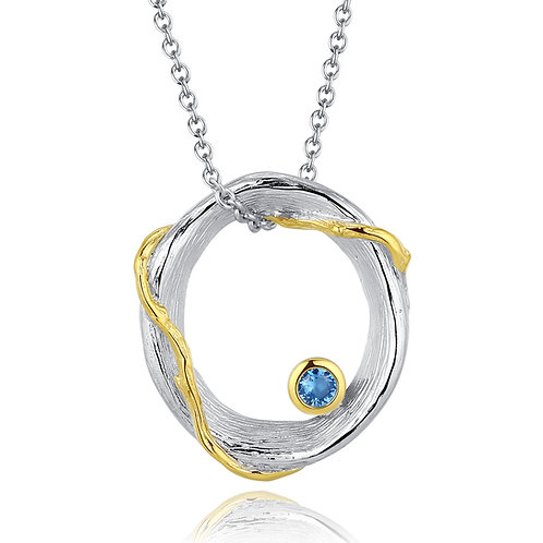 HOOP NECKLACE WITH BLUE TOPAZ IN STERLING SILVER