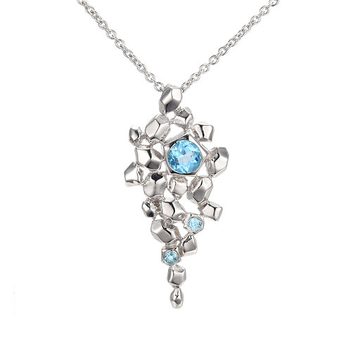 HAMMERED SILVER SEA SPRAY NECKLACE WITH SWISS BLUE TOPAZ