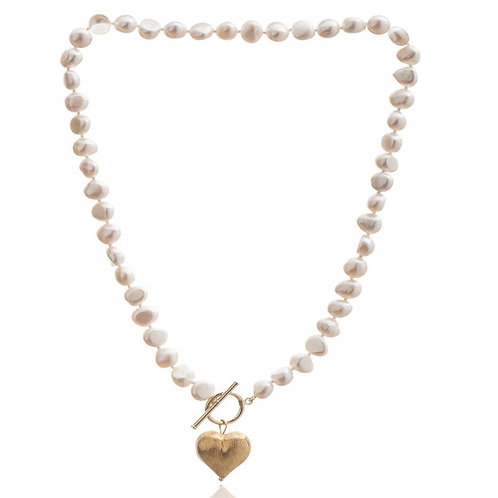 FRESHWATER POTATO PEARL NECKLACE WITH GOLD PLATED HEART