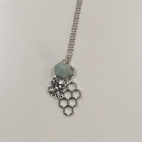 BEE AND HONEYCOMB NECKLACE WITH GEMSTONE