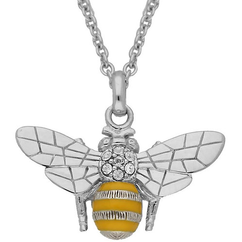 SILVER & ENAMELED BEE NECKLACE WITH SWAROVSKI CRYSTALS