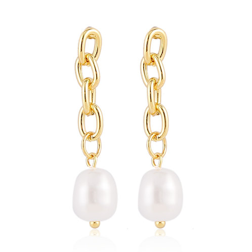 GOLD-PLATED CHAIN EARRINGS WITH PEARL