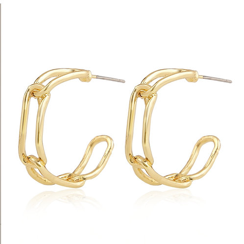 GOLD-PLATED CHAIN HOOP EARRINGS