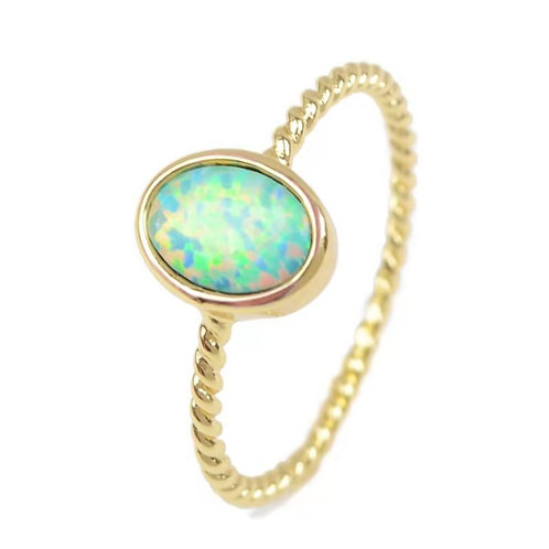 GOLD-PLATED SYNTHETIC WHITE OPAL OVAL RING