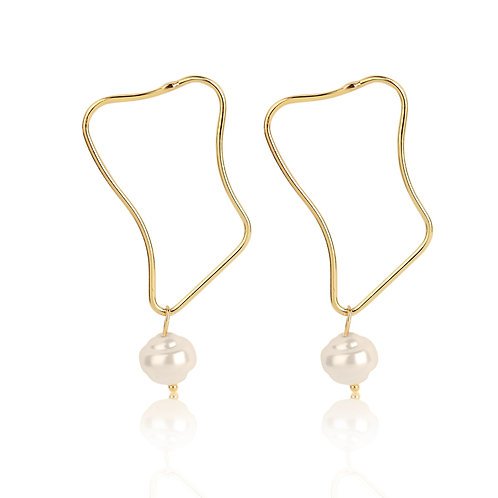 GOLD-PLATED TWISTED HOOP EARRINGS WITH PEARL