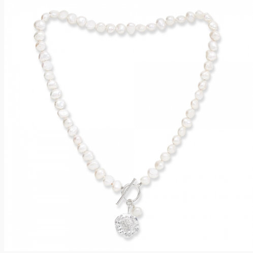 FRESHWATER POTATO PEARL NECKLACE WITH SILVER CHERRY BLOSSOM