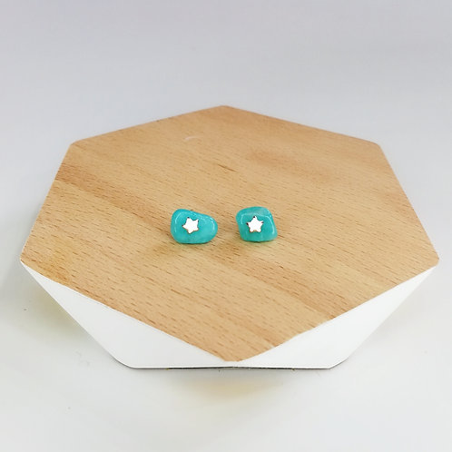 IRREGULAR SEMI-PRECIOUS AMAZONITE WITH STAR STUD EARRINGS IN STERLING SILVER