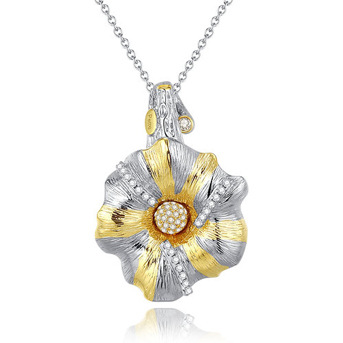 CAMELLIA NECKLACE WITH CUBIC ZIRCONIA IN STERLING SILVER