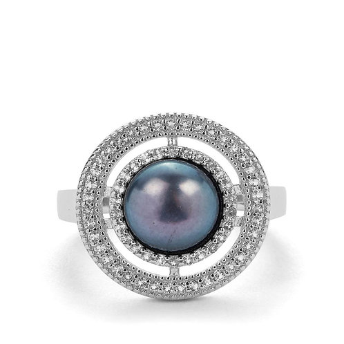 CULTURED PEARL RING & WHITE TOPAZ IN STERLING SILVER