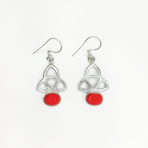 CELTIC TRINITY KNOT EARRINGS WITH RED CORAL