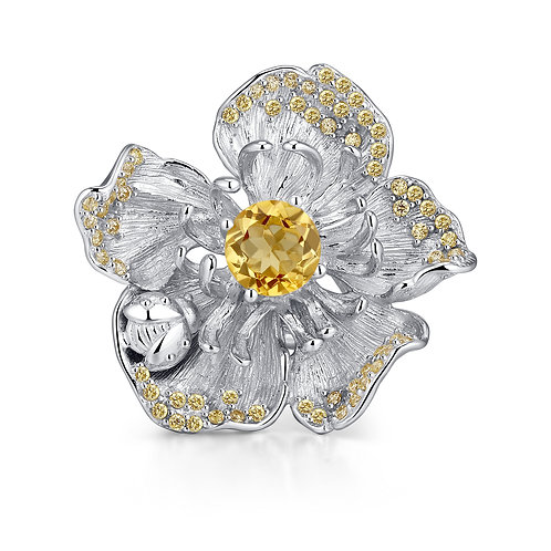 CHUNKY CHERRY BLOSSOM RING WITH CITRINE IN STERLING SILVER