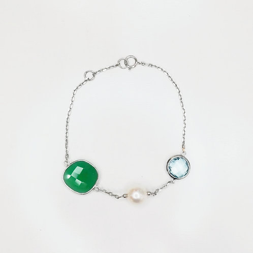 TOPAZ, GREEN AGATE AND FRESHWATER PEARL STERLING SILVER BRACELET