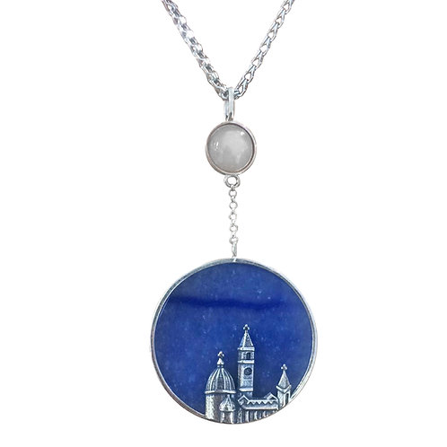 SKYLINE NECKLACE IN STERLING SILVER WITH BLUE AGATE & MOONSTONE