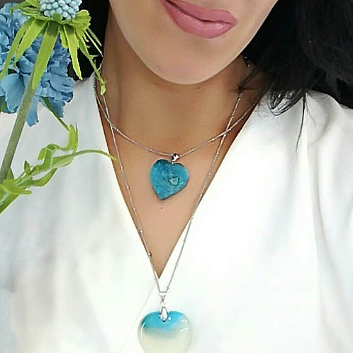 BLUE AGATE HEART NECKLACE
