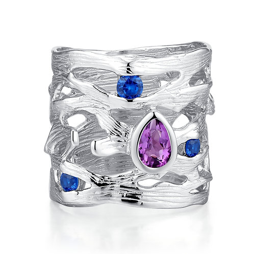 HANDMADE BRUSHED SILVER RING WITH AMETHYST AND NANO BLUE SAPPHIRE