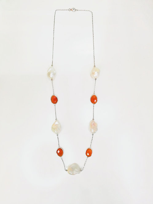 LARGE BAROQUE PEARL WITH GEMSTONE STERLING SILVER NECKLACE
