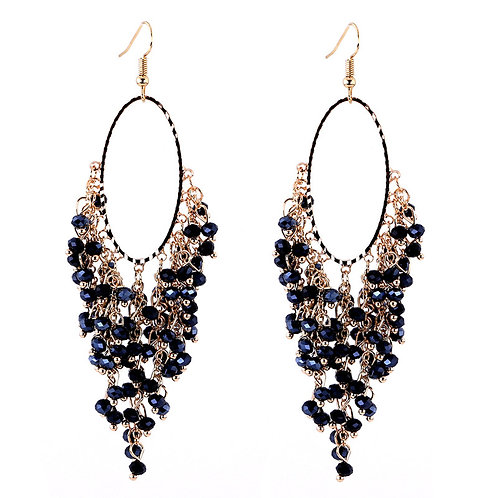 ONYX BLACK CRYSTAL CHANDELIER EARRINGS