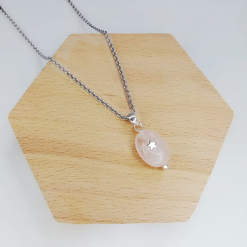 ROSE QUARTZ STAR NECKLACE IN STERLING SILVER