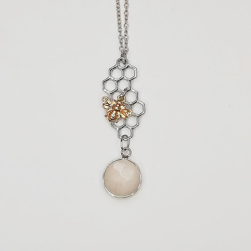 HONEYCOMB BEE SILVER PLATED NECKLACE WITH MOONSTONE