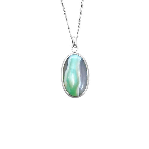 GREEN AGATE IN STERLING SILVER
