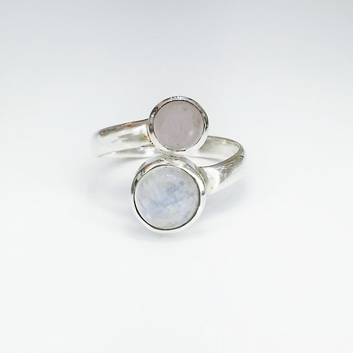 ROSE QUARTZ AND LABRADORITE OPEN RING IN STERLING SILVER