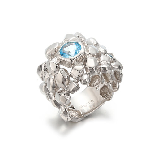 HAMMERED SILVER SEA SPRAY RING WITH SWISS BLUE TOPAZ