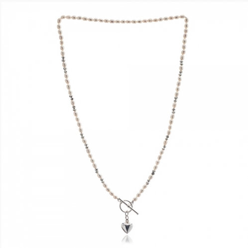 FRESHWATER RICE PEARL NECKLACE WITH SILVER HEART
