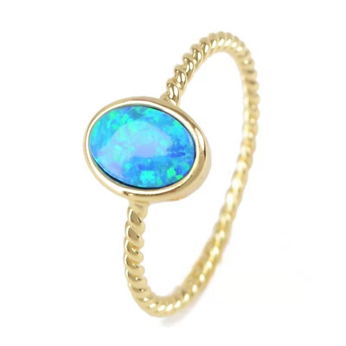 GOLD-PLATED SYNTHETIC BLUE OPAL OVAL RING