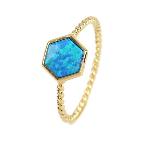 GOLD-PLATED SYNTHETIC BLUE OPAL HEXAGON RING
