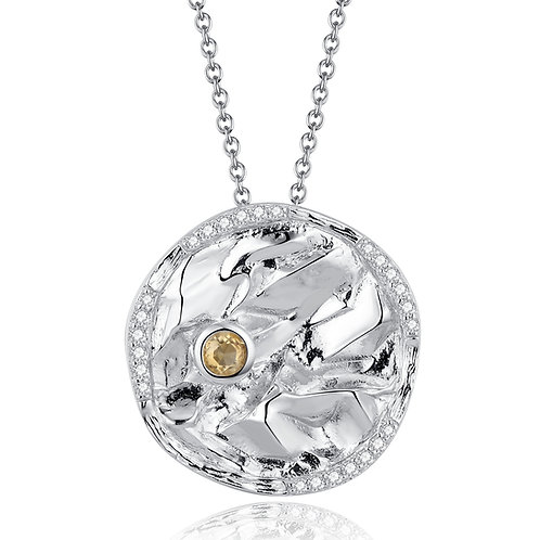 DISC NECKLACE WITH CITRINE IN STERLING SILVER
