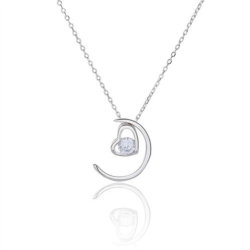 MOON AND HEART STERLING SILVER NECKLACE
