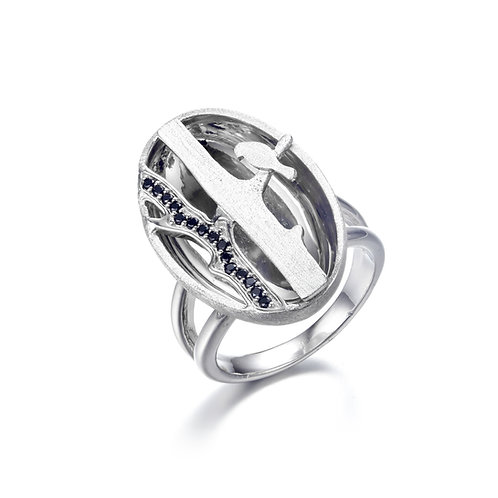 BIRD ON BRANCH OVAL SILVER RING