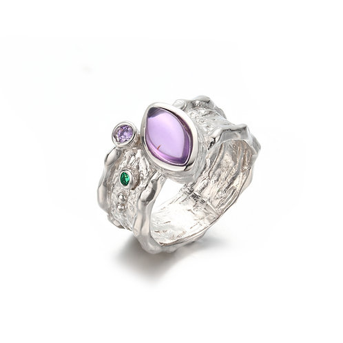 BELOVED BARK DETAIL SILVER RING WITH AMETHYST AND PERIDOT