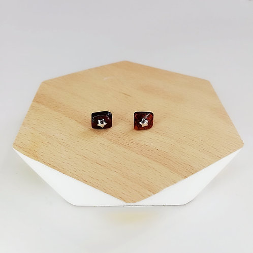 IRREGULAR SEMI-PRECIOUS AMBER  WITH STAR STUD EARRINGS IN STERLING SILVER