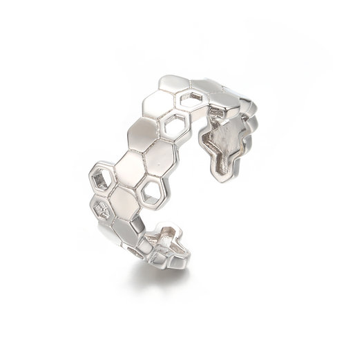 SILVER HONEYCOMB OPEN RING