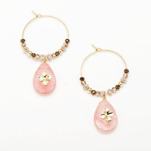 PINK QUARTZ BEADED FLOWER EARRINGS