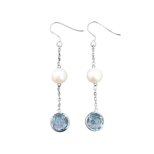 TOPAZ AND FRESHWATER PEARL STERLING SILVER DANGLING EARRINGS