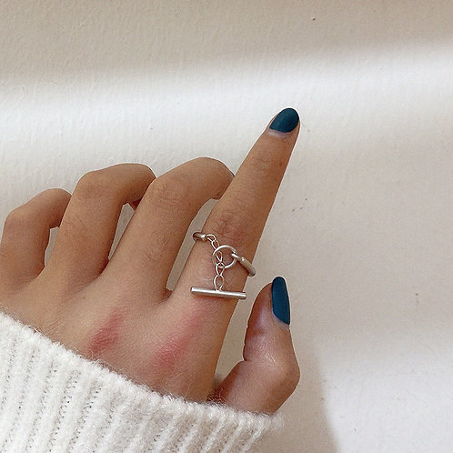 TOGGLE CLASP SILVER PLATED RING
