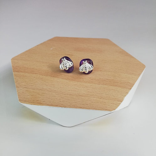 IRREGULAR AMETHYST BEE STUD EARRINGS IN STERLING SILVER