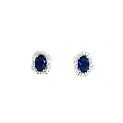 SAPPHIRE QUARTZ WITH CUBIC ZIRCONIA STERLING SILVER EARRINGS