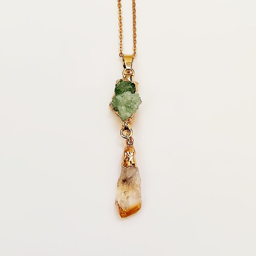 HEALING GREEN DRUZY AND CITRINE GOLD PLATED NECKLACE