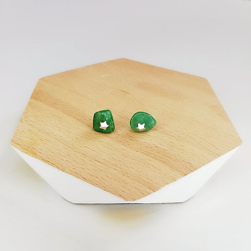 IRREGULAR SEMI-PRECIOUS JADE WITH STAR STUD EARRINGS IN STERLING SILVER