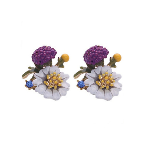 THISTLE ENAMEL EARRINGS